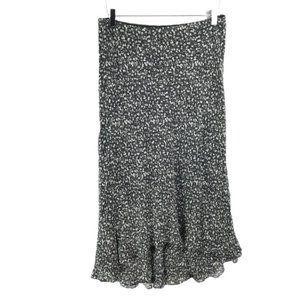 Ralph Lauren Silk Skirt LRL Black White Floral